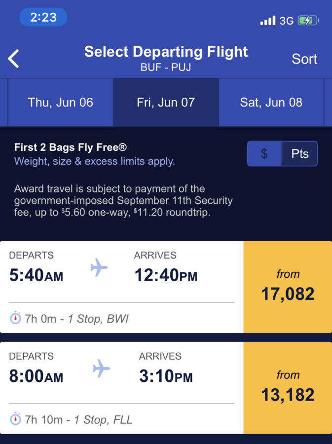 Southwest flights screenshot of times and points prices