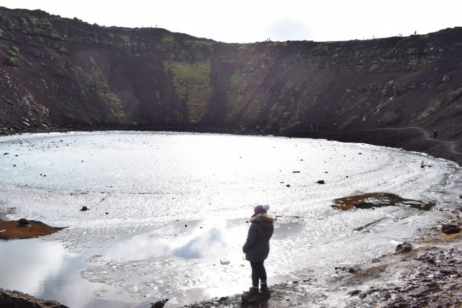 Standing at the base of Kerið Crater