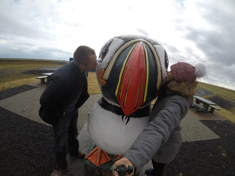 Couple kissing a large puffin statue in Iceland