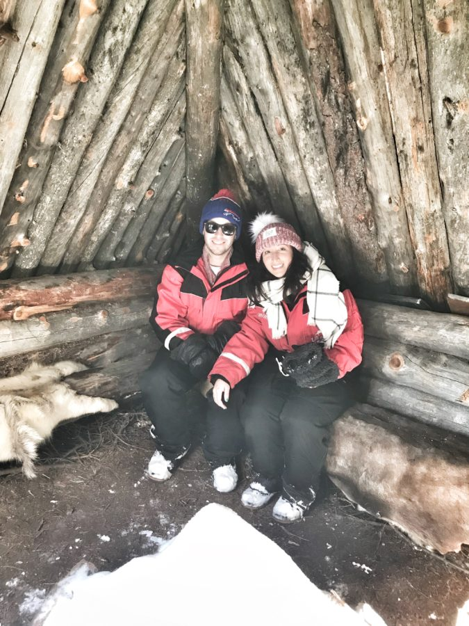 Two people in hut