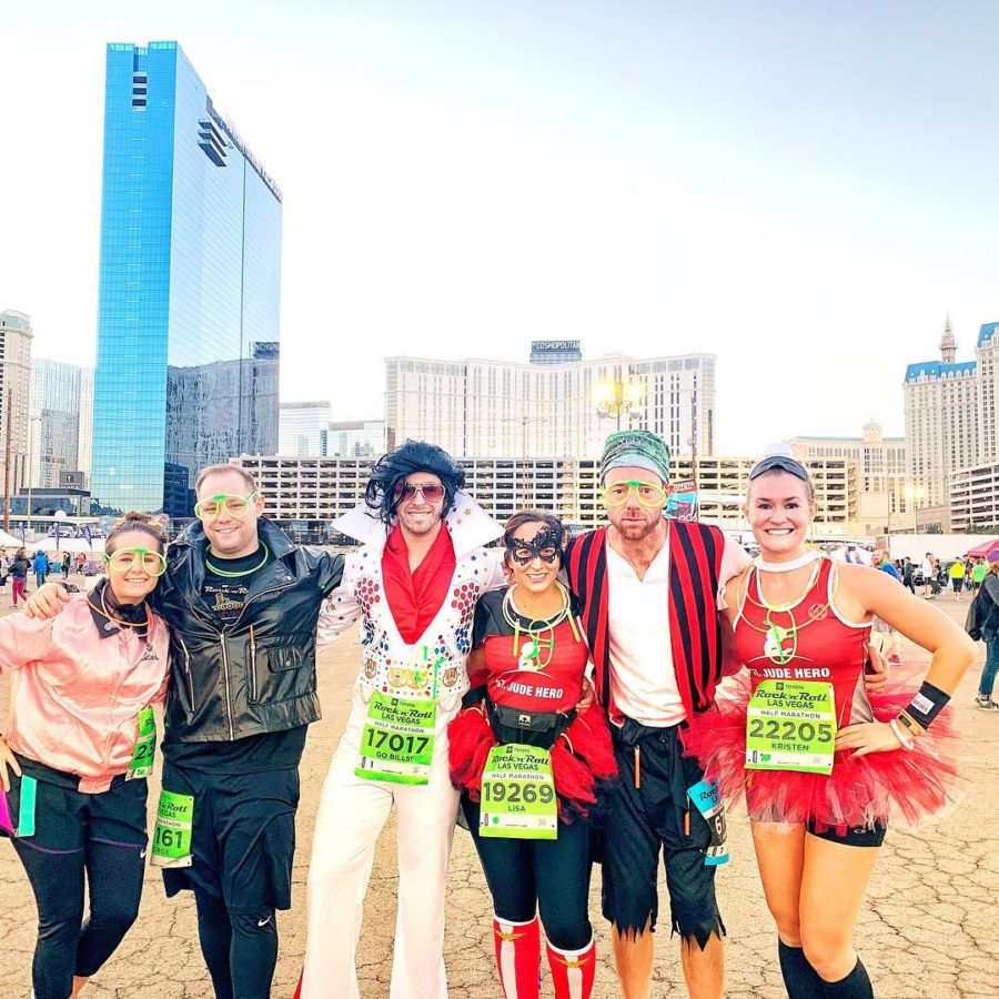 group of people dressed up for marathon in Las Vegas