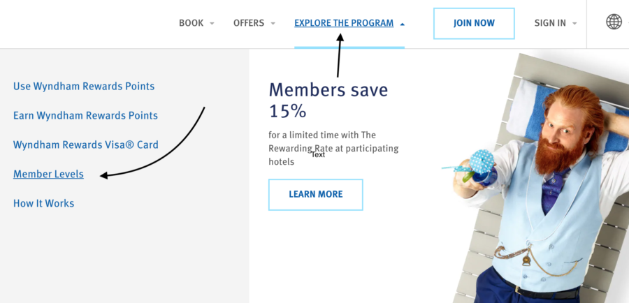 "Screenshot of Wyndham Home page to ""Explore the Program"" and click Member levels"
