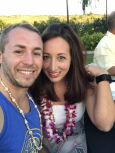 Boy and Girl smiling with Lei's on from Hawaii