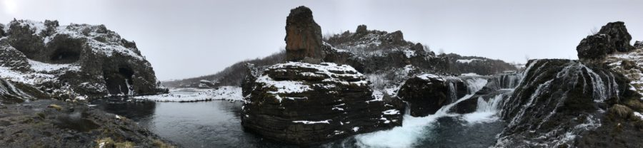 Panaromic view of snow covered waterfalls in Iceland
