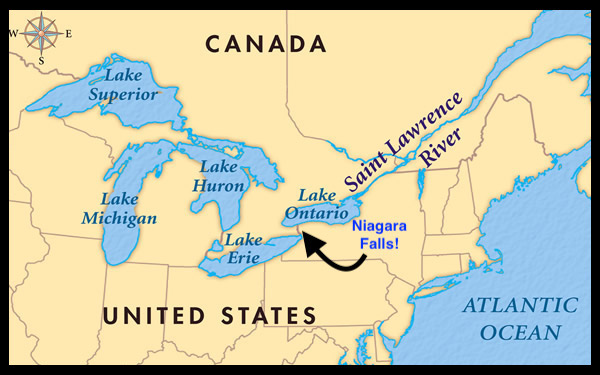 Map of the 5 great lakes with arrow pointing to Niagara Falls