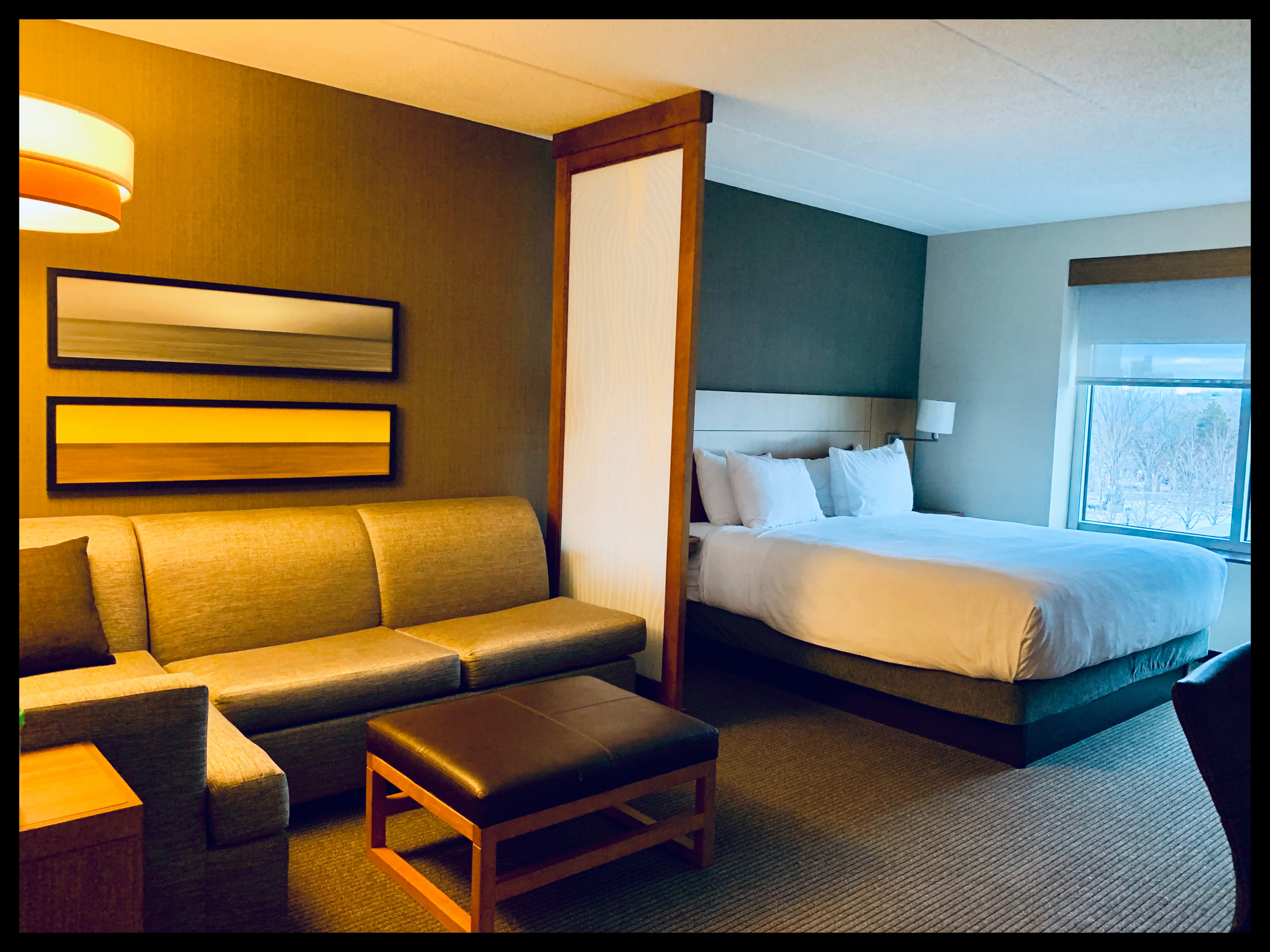 Hotel room with King size bed and couch/seating area