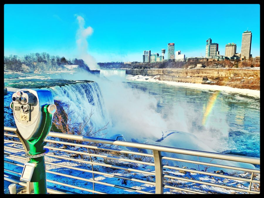 Niagara Falls- American side with Rainbow and a view of Canada