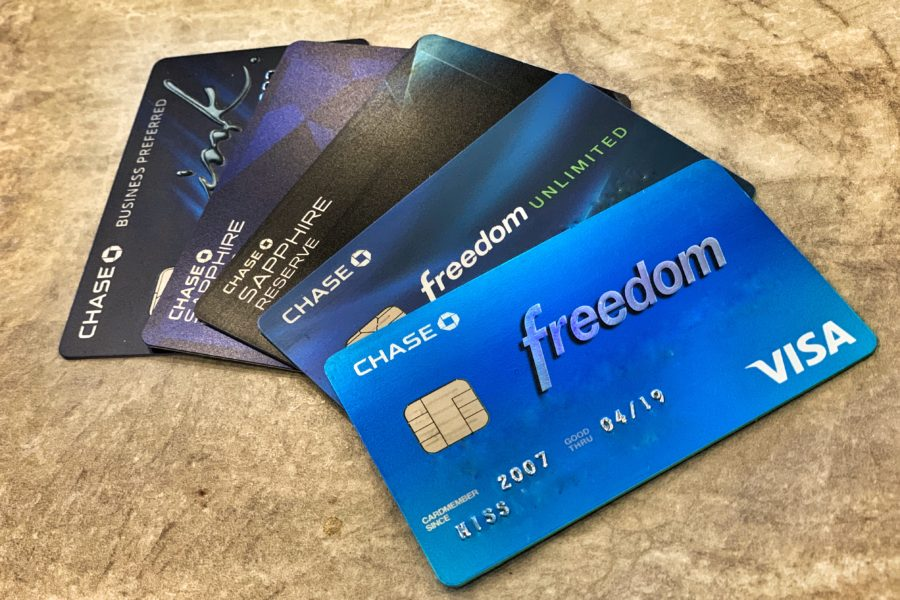Picture of 5 different Chase Branded credit cards