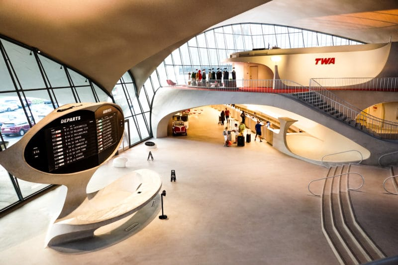 TWA Hotel Entryway with flap-board for Departures and Arrivals