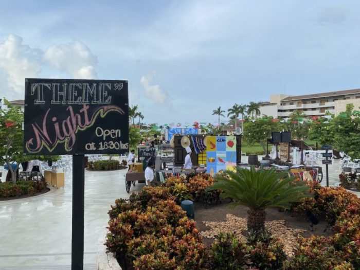 """Sign stating """"Theme Night"""" with decorations in the background"""