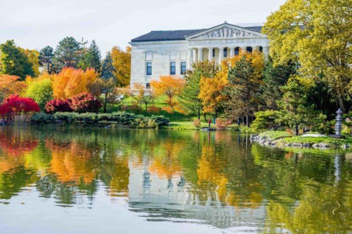 North Buffalo Delaware park during fall. Hoyt lake with building in the background