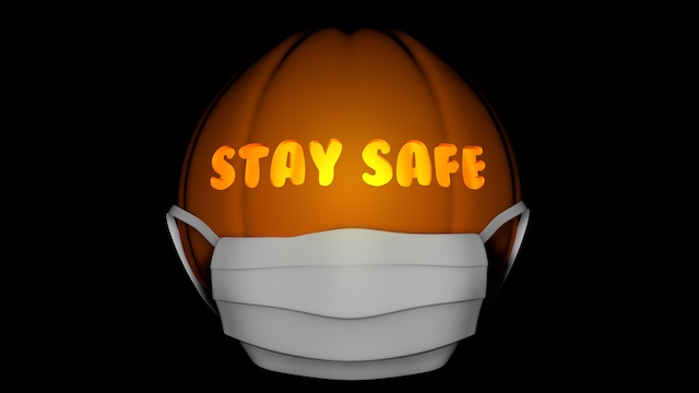 Stay Safe Halloween pumpkin with mask on