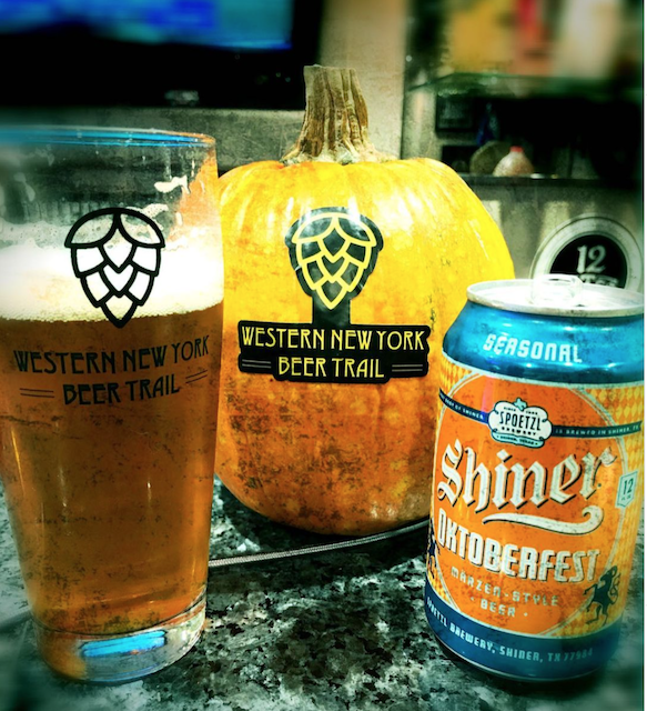Beer and pumpkin with WNY beer trail logo