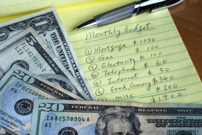 Creating a list of monthly budget costs to pay off debt