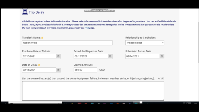 Screenshot of claim procedure