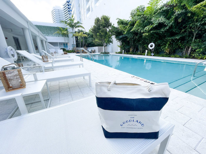 Outdoor Heated pool with The Goodland Bag
