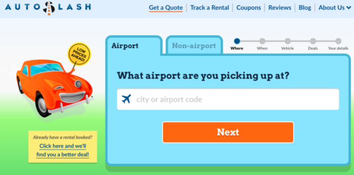 Screenshot of autoslash car rental to get a quote