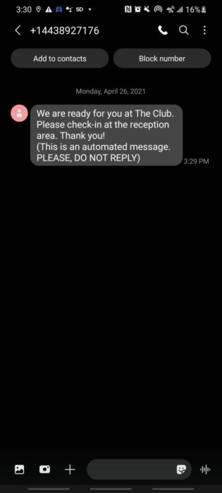 Screenshot of text message to get into the club DFW